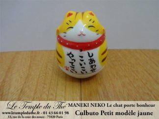 Maneki-Neko Le chat porte bonheur petit culbuto jaune
