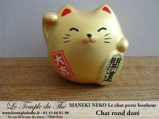 Maneki-Neko Le chat porte bonheur rond doré