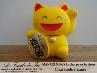Maneki-Neko Le chat porte bonheur tirelire jaune