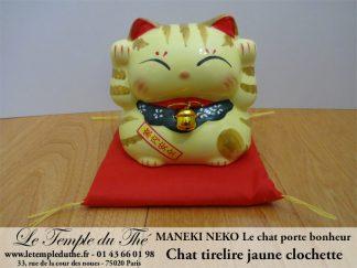 Maneki-Neko Le chat porte bonheur tirelire jaune clochette