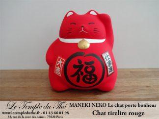 Maneki-Neko Le chat porte bonheur tirelire rouge