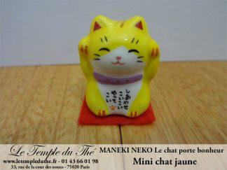 Maneki-Neko Le chat porte bonheur mini chat jaune