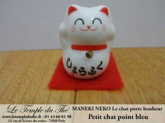 Maneki-Neko Le chat porte bonheur petit chat point bleu