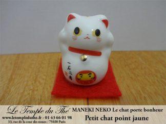 Maneki-Neko Le chat porte bonheur petit chat point jaune