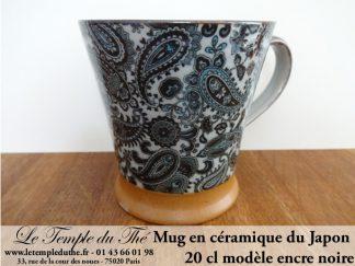 Mug en céramique japonais modèle encre noire 20 cl