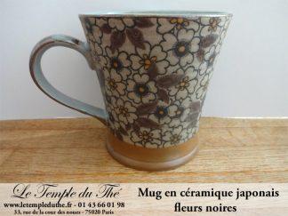 Mug en céramique japonais modèle fleurs noires 20 cl