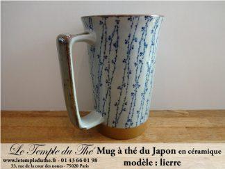 Long mug à thé du Japon en céramique 35 cl lierre