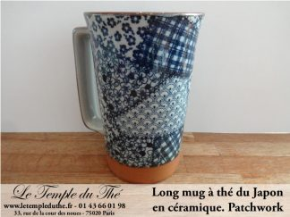 Long mug à thé du Japon en céramique 35 cl. Patchwork
