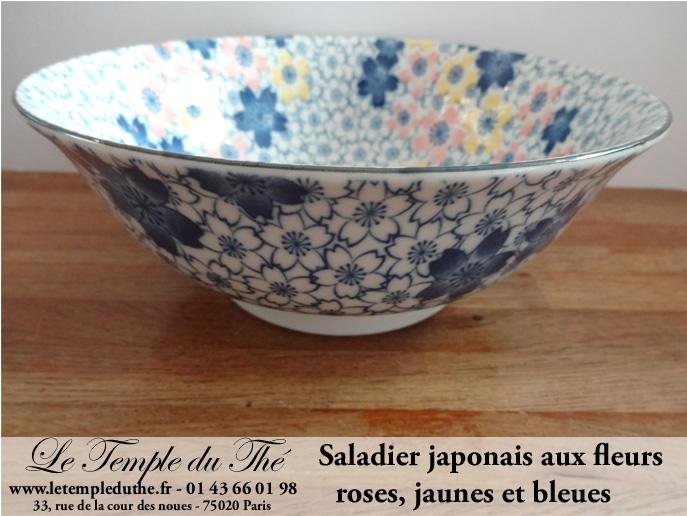 Saladier du Japon avec des fleurs jaunes, bleues et roses