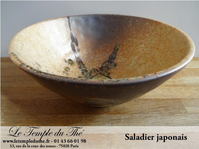 Saladier japonais brun et vert