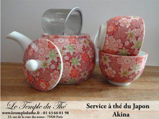 Service en porcelaine 1 théière 55 cl et 2 tasses de 10 cl modèle Akina