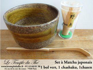 Coffret Service à Matcha du Japon bol vert