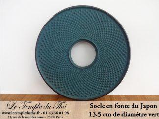 Socle de théière en fonte vert diamètre 13,5 cm