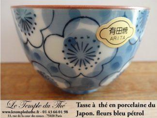 Tasse à thé en porcelaine du Japon fleurs bleues