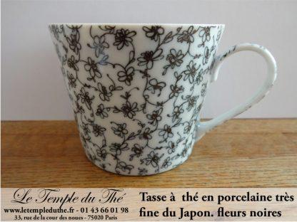 Tasse très fine japonaise en porcelaine fleurs noires