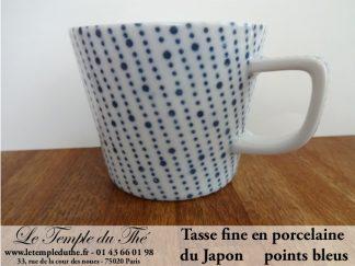 Tasse à thé fine japonaise 20 cl points bleus