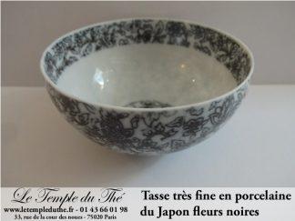 Tasse japonaise en porcelaine fine du Japon fleurs noires