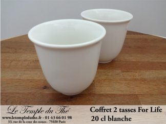 TASSE FOR LIFE. 2 tasses couleur blanche 20 cl