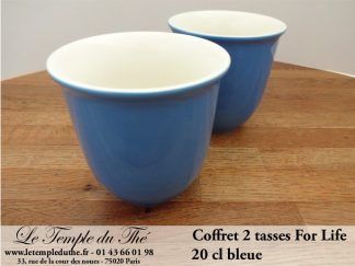 TASSE FOR LIFE. 2 tasses couleur bleue 20 cl