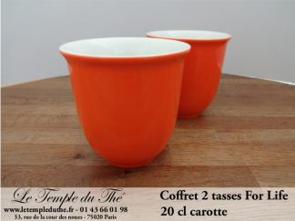 TASSE FOR LIFE. 2 tasses couleur carotte 20 cl