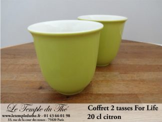 TASSE FOR LIFE. 2 tasses couleur vert citron 20 cl
