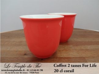 TASSE FOR LIFE. 2 tasses couleur corail 20 cl