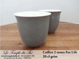 TASSE FOR LIFE. 2 tasses couleur grise 20 cl