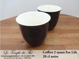 TASSE FOR LIFE. 2 tasses couleur noire 20 cl