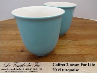 TASSE FOR LIFE. 2 tasses couleur turquoise 20 cl