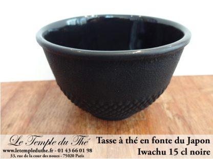 Tasse à thé en fonte du Japon noire Iwachu