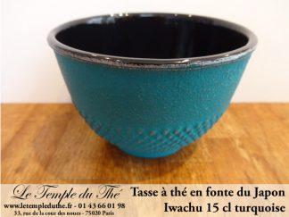 Tasse à thé en fonte du Japon turquoise Iwachu