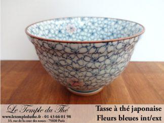 Tasse à thé japonaise en porcelaine bleue int/ext