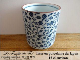 Tasse en porcelaine du Japon fleurs bleues