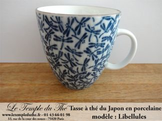 Mug à thé en porcelaine du Japon libellules bleues 25 cl