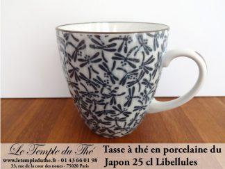 Mug à thé en porcelaine du Japon libellules noires 25 cl