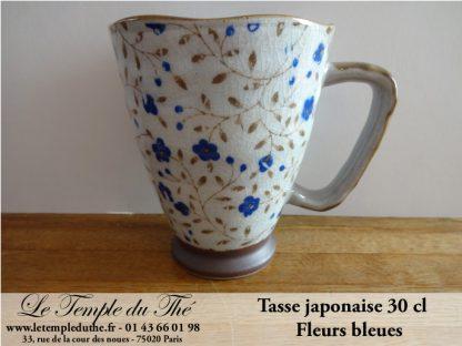 Tasse japonaise 30 cl fleurs bleues