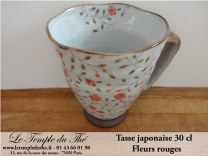 Tasse japonaise 30 cl fleurs rouges