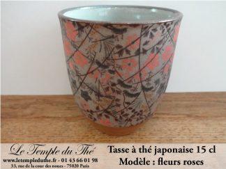 Tasse à thé japonaise 15 cl modèle fleurs roses