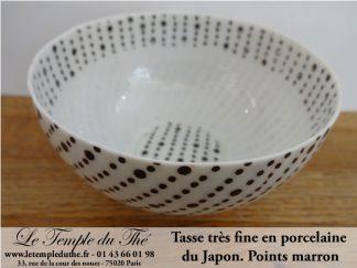 Tasse en porcelaine très fine du Japon modèle points marrons