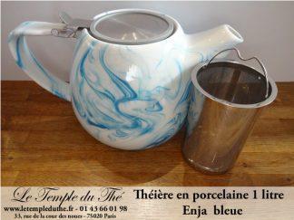 Théière en porcelaine de Chine ENJA bleue 1 Litre
