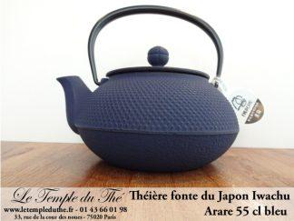 Théière en fonte Arare IWACHU Japon 0.55 L bleu