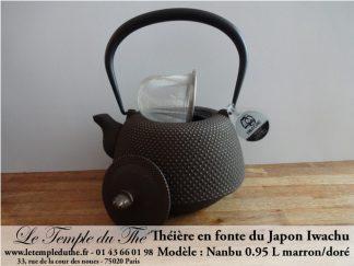 Théière en fonte du Japon Iwachu Arare Nanbu marron doré 0.95 L