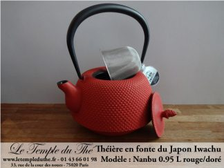 Théière en fonte du Japon Iwachu Nanbu Arare rouge doré 0.95 L