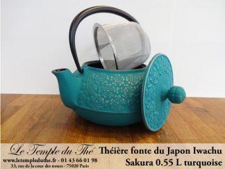 Théière en fonte du Japon IWACHU modèle Sakura turquoise