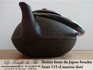 Théière en fonte Arare IWACHU du Japon 1.15 L marron doré