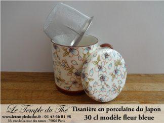 Tisanière en porcelaine du Japon fleur bleue