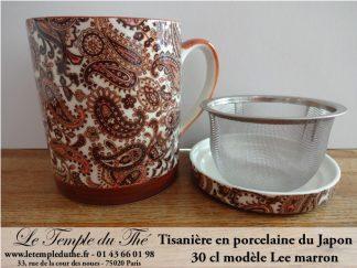 Tisanière japonaise en porcelaine 30 cl Lee marron