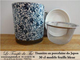 Tisanière en porcelaine du Japon feuille bleue