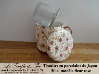 Tisanière en porcelaine du Japon fleur rose