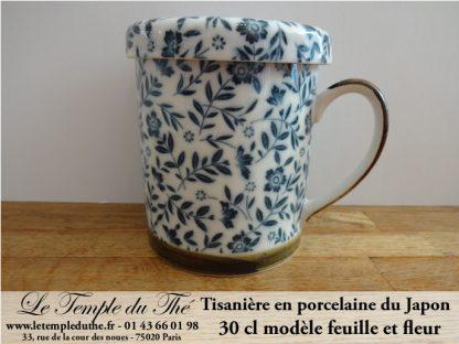 Tisanière en porcelaine du Japon feuille et fleur